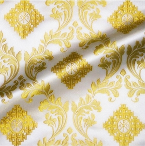 Aegina metallic brocade (white/gold)