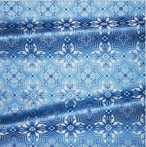Rhodes metallic brocade (blue/silver)