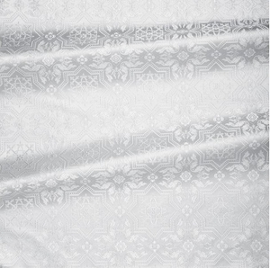 Rhodes metallic brocade (white/silver)