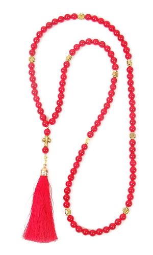 Orthodox prayer rope 100 knots - Red agate