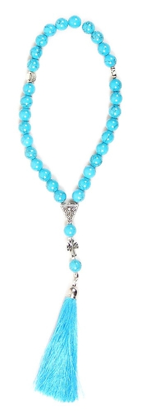 Orthodox prayer rope 30 knots - Turquoise