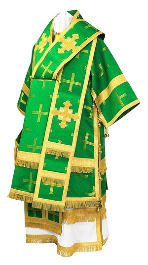 Bishop vestments - metallic brocade B (green-gold)