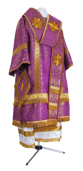 Bishop vestments - metallic brocade B (violet-gold)