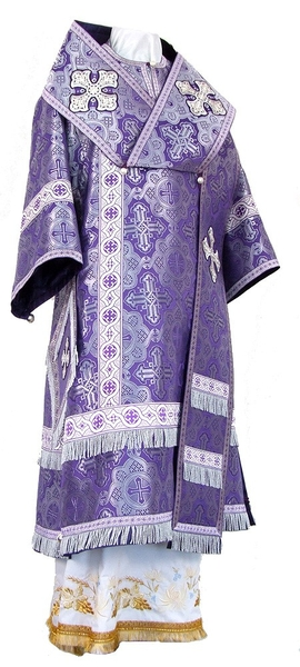 Bishop vestments - metallic brocade B (violet-silver)
