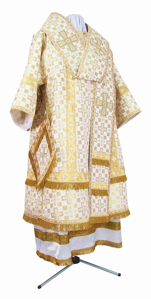 Bishop vestments - metallic brocade B (white-gold)