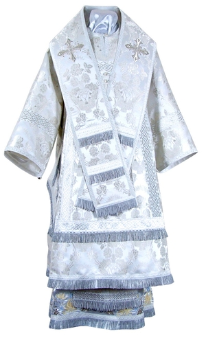 Bishop vestments - metallic brocade BG3 (white-silver)