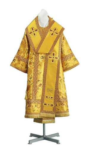 Bishop vestments - metallic brocade BG6 (yellow-claret-gold)