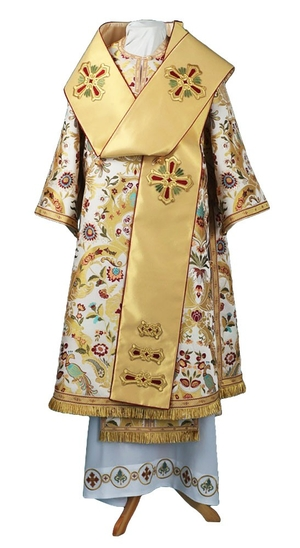 Bishop vestments - metallic brocade BG6 (white-gold)