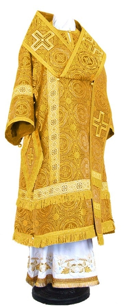 Bishop vestments - rayon brocade S2 (yellow-claret-gold)