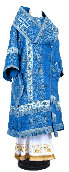 Bishop vestments - rayon brocade S3 (blue-silver)