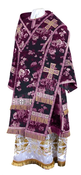 Bishop vestments - rayon Chinese brocade (violet-silver)