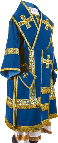 Bishop vestments - natural German velvet (blue-gold)