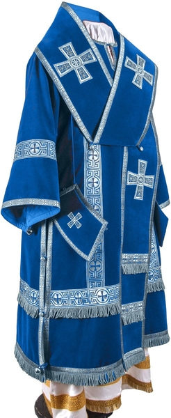 Bishop vestments - natural German velvet (blue-silver)