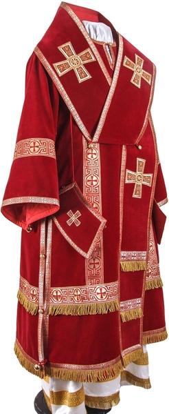 Bishop vestments - natural German velvet (red-gold)
