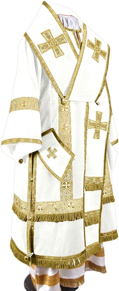 Bishop vestments - natural German velvet (white-gold)