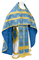 Russian Priest vestments - Mirgorod metallic brocade B (blue-gold) with velvet inserts, Standard design