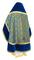 Russian Priest vestments - Alpha-&-Omega metallic brocade B (blue-gold) with velvet inserts, back, Standard design