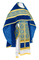 Russian Priest vestments - Alpha-&-Omega metallic brocade B (blue-gold) with velvet inserts,, Standard design