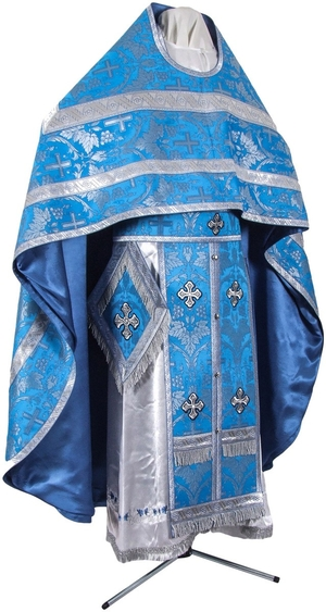 Russian Priest vestments - metallic brocade B (blue-silver)