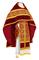 Russian Priest vestments - Alpha-&-Omega metallic brocade B (claret-gold) with velvet inserts,, Standard design