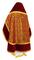 Russian Priest vestments - Alpha-&-Omega metallic brocade B (claret-gold) with velvet inserts, back, Standard design