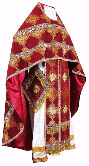 Russian Priest vestments - metallic brocade B (claret-gold)