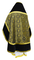 Russian Priest vestments - Alpha-&-Omega metallic brocade B (black-gold) with velvet inserts, back, Standard design
