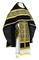 Russian Priest vestments - Alpha-&-Omega metallic brocade B (black-gold) with velvet inserts,, Standard design