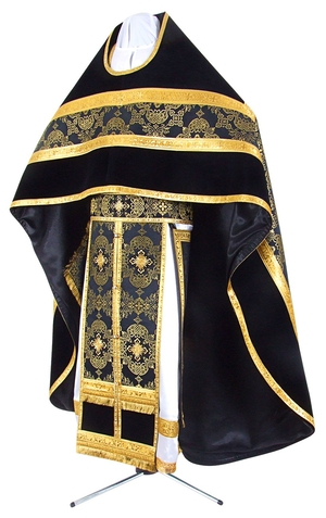 Russian Priest vestments - metallic brocade B (black-gold)