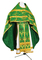 Russian Priest vestments - Czar's Cross metallic brocade B (green-gold) with velvet inserts (back), Premium cross design