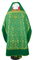 Russian Priest vestments - Czar's Cross metallic brocade B (green-gold) with velvet inserts, Premium design