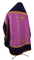 Russian Priest vestments - Paschal Egg metallic brocade B (violet-gold) with velvet inserts (back), Standard design