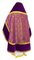 Russian Priest vestments - Alpha-&-Omega metallic brocade B (violet-gold) with velvet inserts, back, Standard design