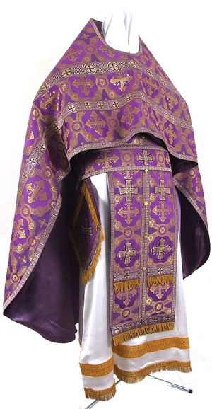 Russian Priest vestments - metallic brocade B (violet-gold)
