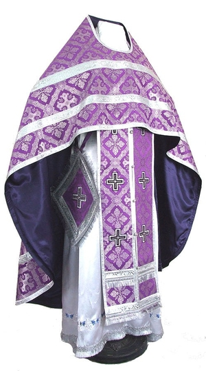 Russian Priest vestments - metallic brocade B (violet-silver)