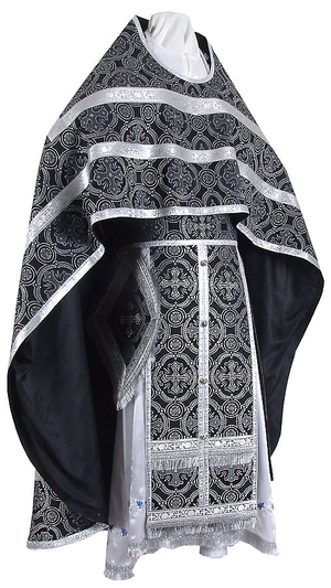 Russian Priest vestments - metallic brocade B (black-silver)