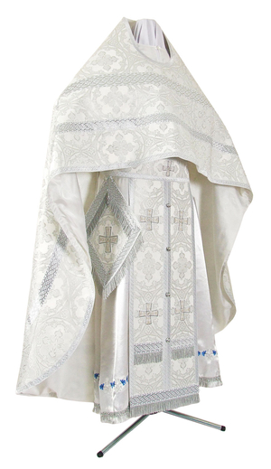 Russian Priest vestments - metallic brocade B (white-silver)