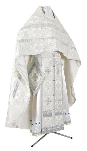 Russian Priest vestments - metallic brocade B (white-silver)