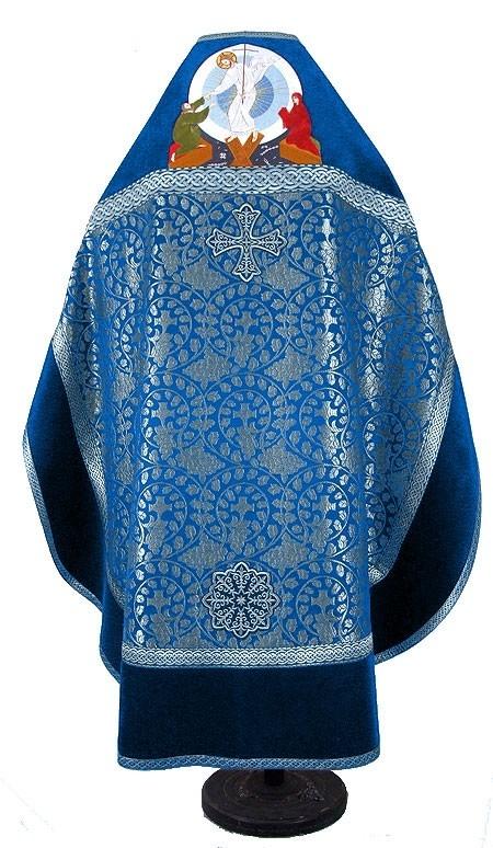 Russian Priest vestments - metallic brocade BG1 (blue-silver) - Istok  Church Supplies Corp.