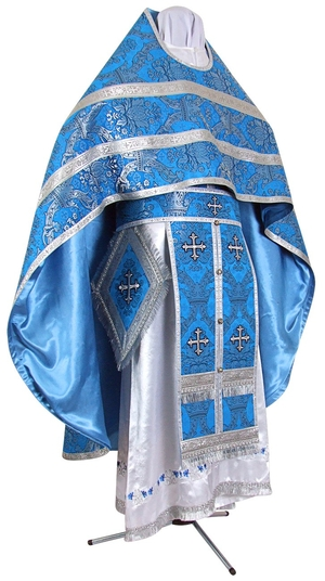 Russian Priest vestments - metallic brocade BG1 (blue-silver)
