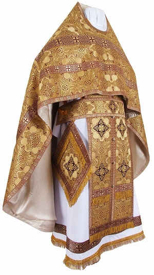 Russian Priest vestments - metallic brocade BG1 (yellow-claret-gold)