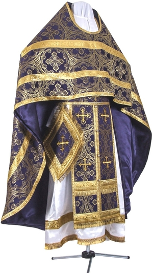 Russian Priest vestments - metallic brocade BG1 (violet-gold)