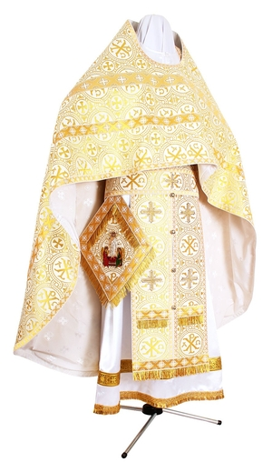 Russian Priest vestments - metallic brocade BG1 (white-gold)