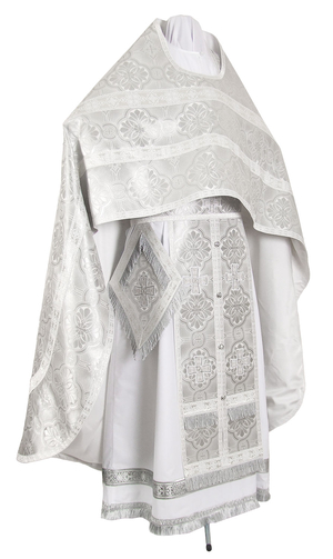 Russian Priest vestments - metallic brocade BG1 (white-silver)