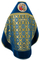 Russian Priest vestments - Nativity metallic brocade BG2 (blue-gold) with velvet inserts (back), Standard design