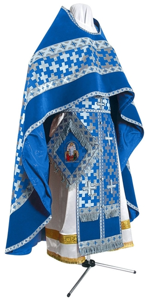 Russian Priest vestments - metallic brocade BG2 (blue-silver)