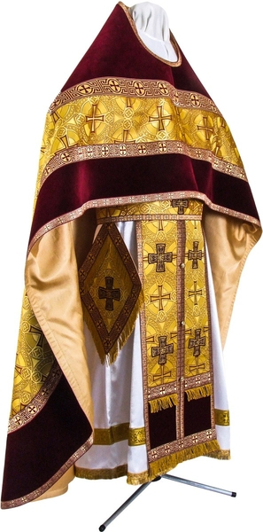 Russian Priest vestments - metallic brocade BG2 (yellow-claret-gold)