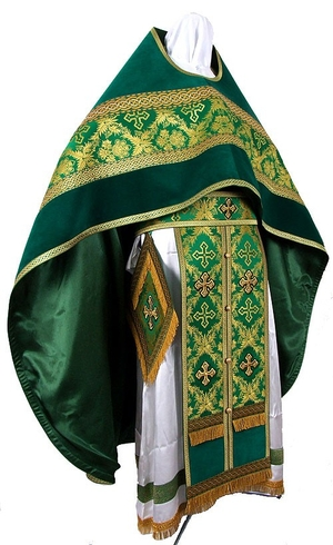 Russian Priest vestments - metallic brocade BG2 (green-gold)