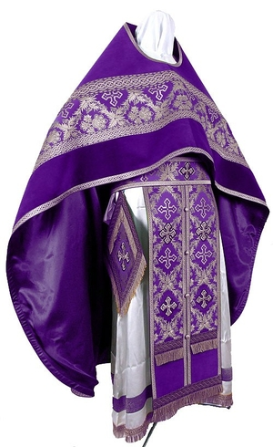 Russian Priest vestments - metallic brocade BG2 (violet-silver)