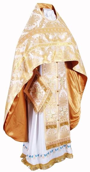 Russian Priest vestments - metallic brocade BG2 (white-gold)
